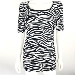 WHBM Small Zebra Blouse Top Shirt Ruched Sides